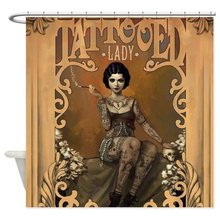 The Amazing Tattooed Lady Decorative Fabric Shower Curtain Bath Products Bathroom Decor with Hooks Waterproof л е бежин се линъюнь