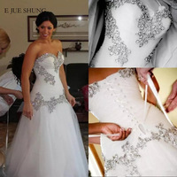 E JUE SHUNG Silver Lace Appliques Beaded Wedding Dresses Lace up Back Sweetheart Wedding Gowns Bride Dress robe de mariee