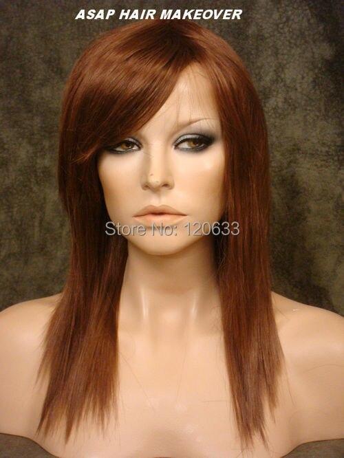 Long Stick Straight Wig With Bangs Razor Cut Layers Brownish Auburn