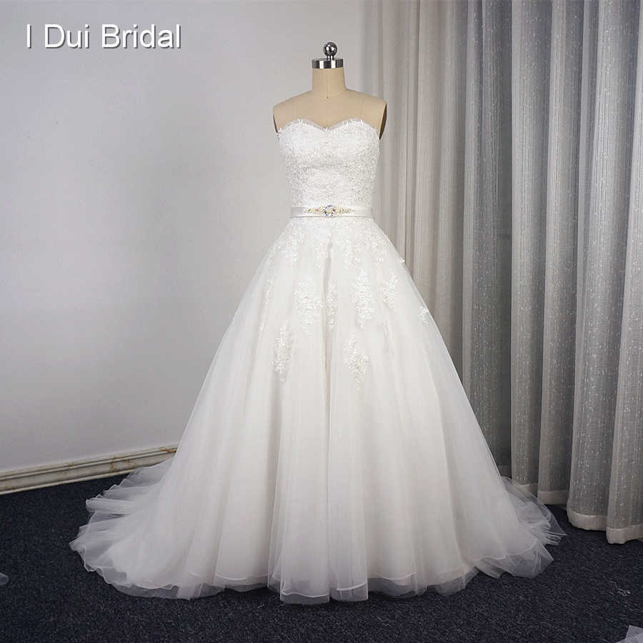 Sweetheart Ball Gown Lace Wedding Dresses Lace Appliqued Beaded Champagne Bridal Gown with Belt Chapel Train