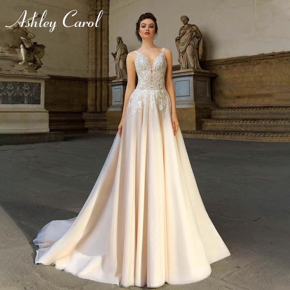 Ashley Carol Sexy Deep V-neckline Tulle Wedding Dress 2019 New Spaghetti Straps Backless A-Line Bride Dress Simple Wedding Gowns