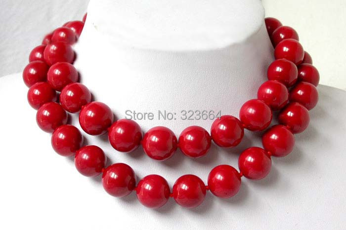 biger 32 14mm round red natural coral Necklace natural red coral with silk knot design necklace