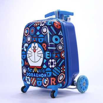 "Carrylove 18"" lazy rolling luggage kids scooter travel suitcase trolley case on wheel"