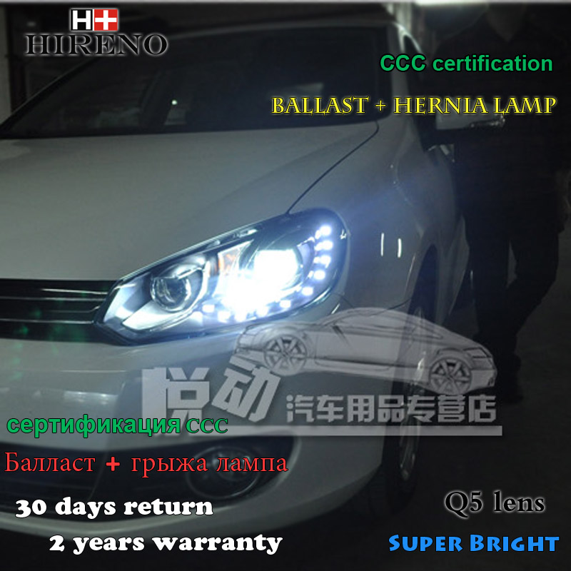 Hireno Headlamp for 2009-2012 Volkswagen Golf 6 Golf6 Headlight Assembly LED DRL Angel Lens Double Beam HID Xenon 2pcs hireno headlamp for 2003 2006 volkswagen touran headlight assembly led drl angel lens double beam hid xenon 2pcs