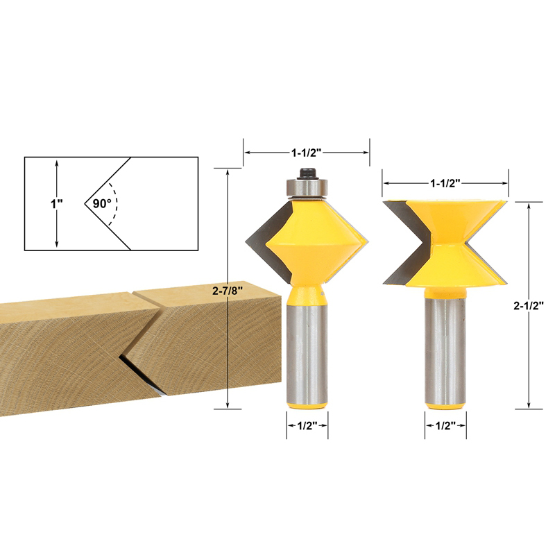 2pcs/lot Edge Banding Router Bit Set V-Design Tongue & Groove - 1/2
