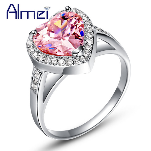 Pink Heart Crystal Rings for Women Silver Jewelry Love CZ Zircon Ring Flower Anel Feminino with Stones Bague Femme Anillos J425
