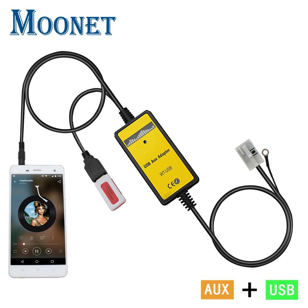 Moonet Car Audio MP3 AUX Adattatore 3.5mm AUX USB Interfaccia CD Changer Per Audi Volkswagen Tiguan Touran T5 Golf passat QX091
