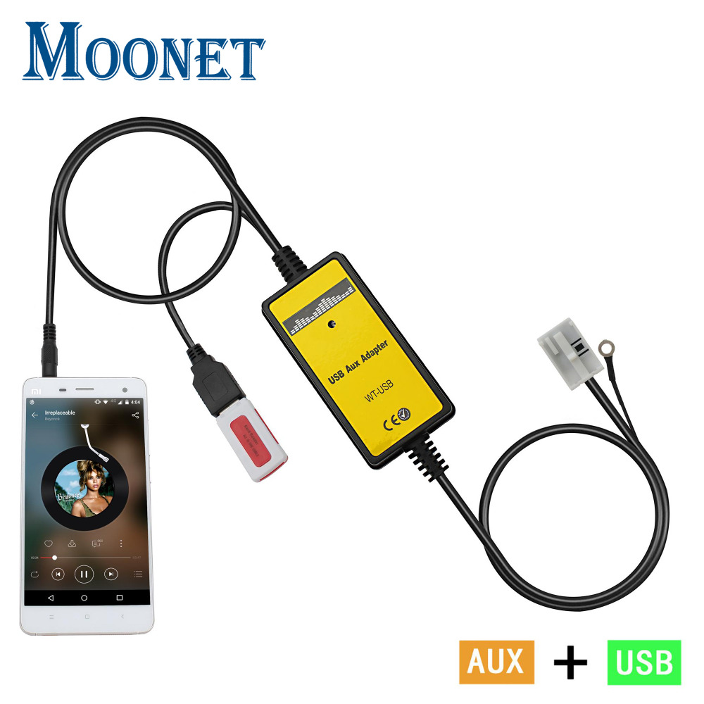 Moonet Car MP3 reproductor adaptador 3,5mm AUX-IN TF SD USB CD cambiador para 12 p VW Seat Audi Audio QX091