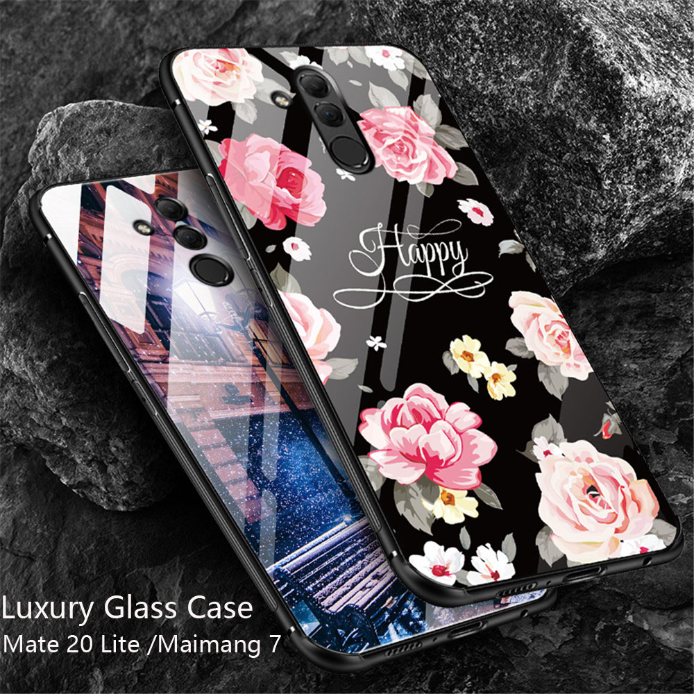 Case Coque Huawei Mate 20 Lite Case Luxury Glass Cover For Huawei Maimang 7 Mate 20 Lite Soft TPU Silicone Edge Case