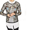 Sexy Floral Pattern Embroidery Mesh Perspective O-Neck Pullover T-Shirt Slim Fashion Women Long Sleeve Tops 2 Colors SY17-02-29