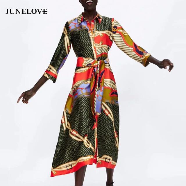 b722b76c4c050 US $15.99 40% OFF|JuneLove women casual chain print maxi shirtdress loose  female three quarter sashes long dress vintage lady vestidos chic dress-in  ...