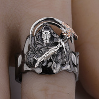 Punk Heavy Skeleton Men Skull Ring 925 Sterling Silver Rings Fiercely Face Omnipotence Male Ring Jewelry