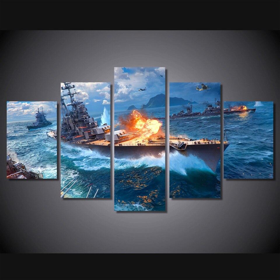 2017 Nueva Moderno Buque de Guerra en El Mar Art Poster Pinturas ...