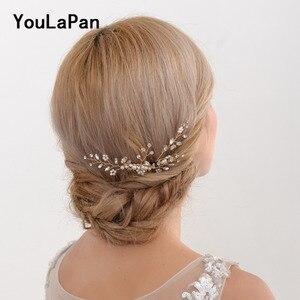 YouLaPan Golden Wedding Combs Wedding Tiara Rhinestone Wedding Headwear Pearl Bridal Hair Comb Wedding Hair Accessories HP22(China)