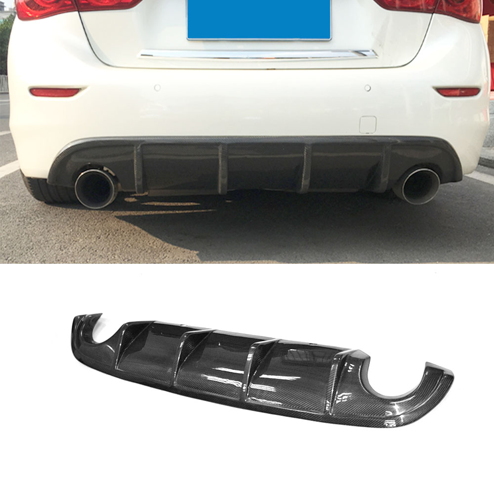 Carbon Fiber /FRP Unpainted Rear Bumper Diffuser Lip Spoiler for Infiniti Q50 Q50S 14-17 add on style rear spoiler for infiniti q50 q50l q50s 2014 2015 2016 high quality diffuser pp material big spoiler q50 q50l q50s