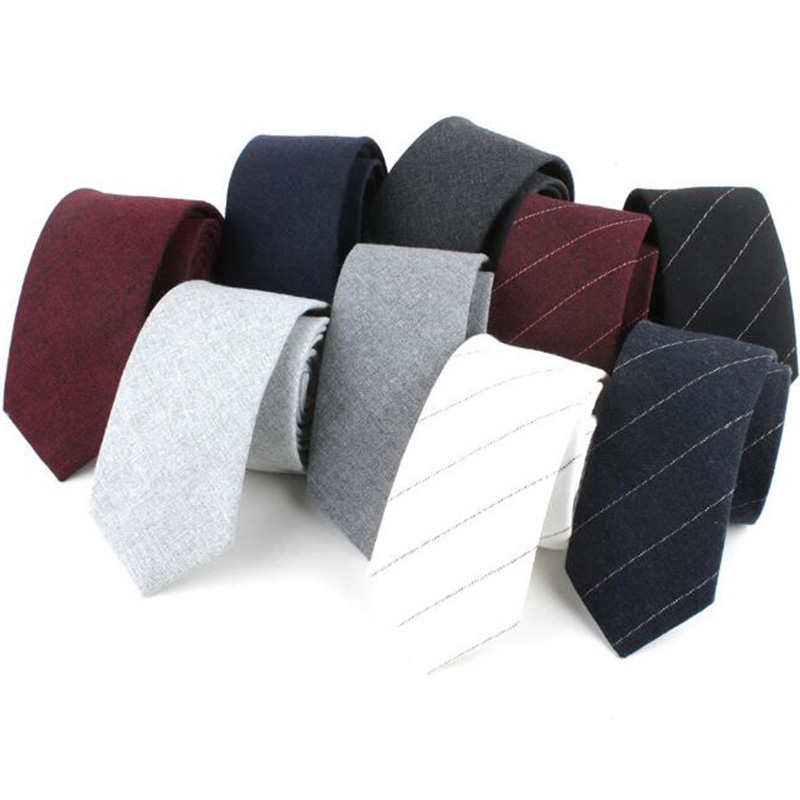 RBOCOTT Men's Cotton Tie Solid Plain Necktie 6cm Slim Tie Fashion Stripped Skinny Tie Casual For Party Wedding Accessories