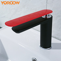 Brass Black Mixer Red Bathroom Sink Taps Oil Rubbed Bronze Cold Hot Faucet Waterfall Water Contemporary Free Shipping WN0055