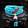 6mm Natural Turquoise Stone Buddhist Buddha Meditation 108 beads Prayer Bead Mala Bracelet Women Men jewelry