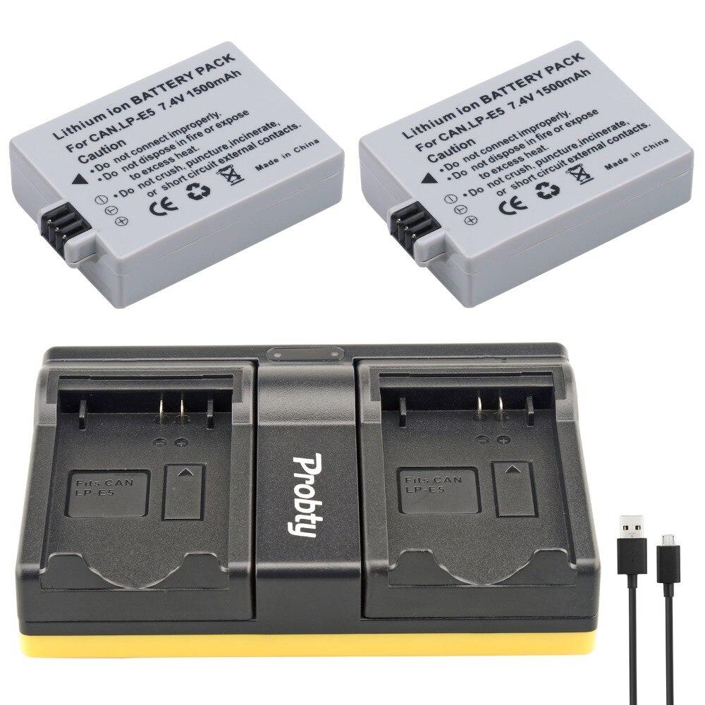 Probty 2 unids lp-e5 LP E5 Baterías para cámara + cargador USB Dual pm048 para Canon EOS 1000d 450d 500d beso X2 x3 F Rebel XS xsi t1i