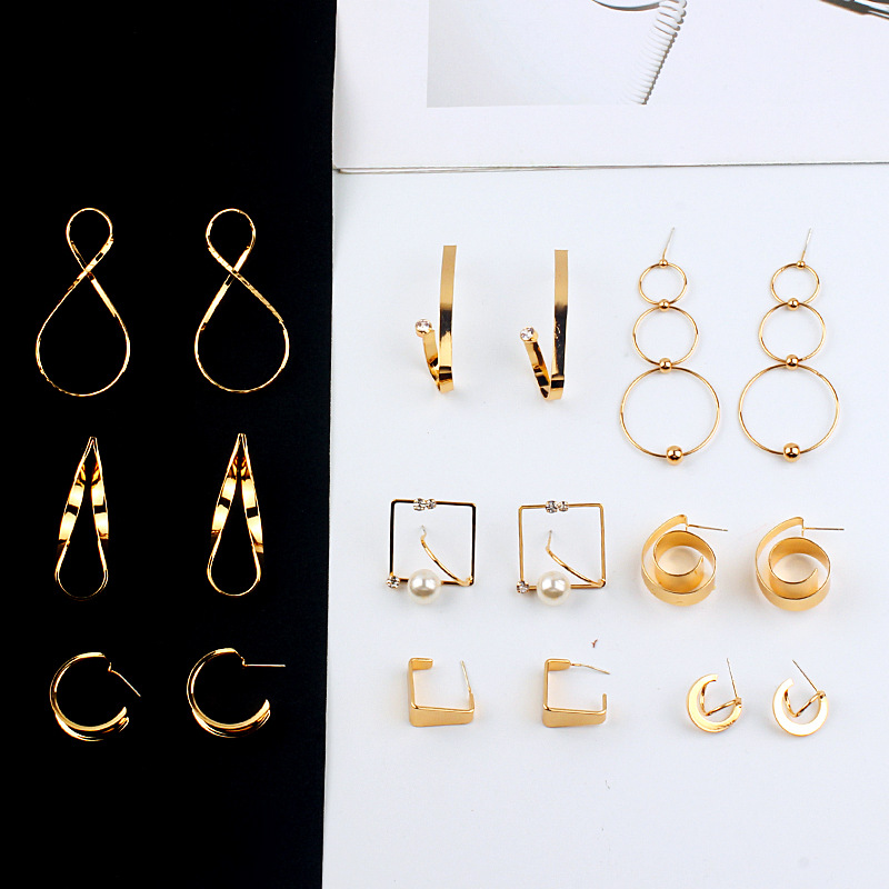 12pairs/lot temperament  geometric metal earrings