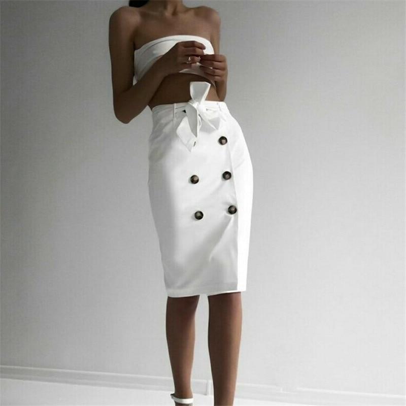 Women Button Split Skirt High Waist Summer Party Holiday Casual Ruffle Wrap Skirt Ladies Elegant Fashion New Skirts White Khaki