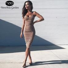 NewAsia Jardim Sheer Ruched Vestido do Verão Das Mulheres Elegent Sexy Vestido Club Wear Bodycon Vestido Longo Vestidos de Festa Senhoras Vestido Midi