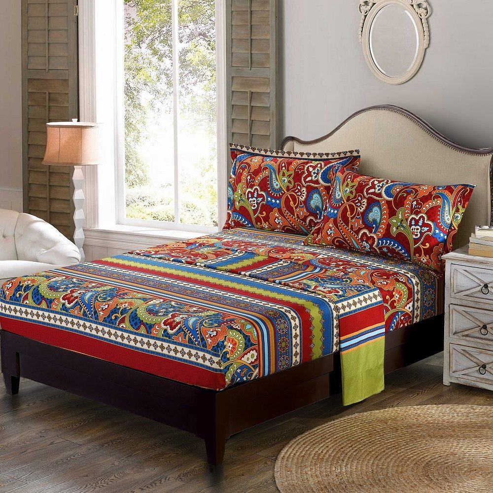 Colorful Bohemian Rooms: WINLIFE Colorful Bohemian Bedding Paisley Design Bedroom Set Stripped Bedding-in Bedding Sets