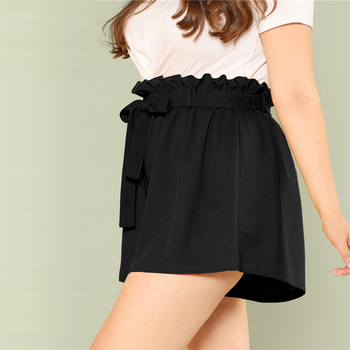 Plus Size Solid Paperbag Waist Shorts