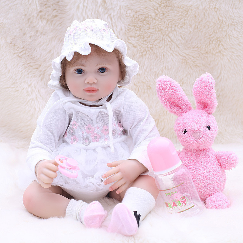 22inch Kawaii Reborn Dolls Babies Vinyl Reborn Baby Girl with Soft Cotton Body Dolls for Girls Gift Silicone Baby Dolls for Sale 22inch full silicone reborn baby dolls for sale baby alive newborn baby girl dolls handmade lifelike washing dolls for girls
