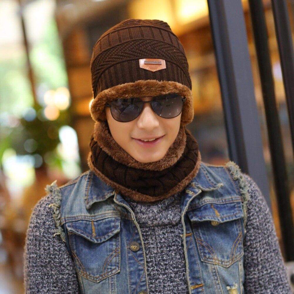 806e12c40ef 2016 Arrival Beanies With Scarf Knitted Hat Men s Winter Hats For Men Caps  Warm Moto Fur Winter Beanie Fleece Knit Bonnet Hat