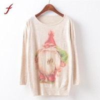 Feitong 2018 Womens Autumn Fashion Christmas Batwing Long Sleeve Loose Print Sweater Jumper Pullover Knitwear Tops