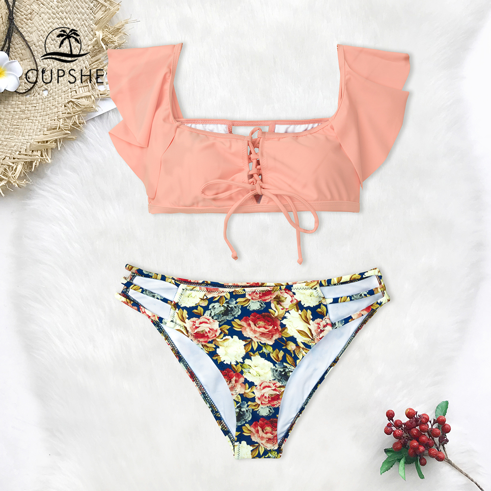 74378a2b50 CUPSHE Pink And Floral Lace-Up Tank Bikini Sets Women Cute Two Pieces  Swimsuits 2019