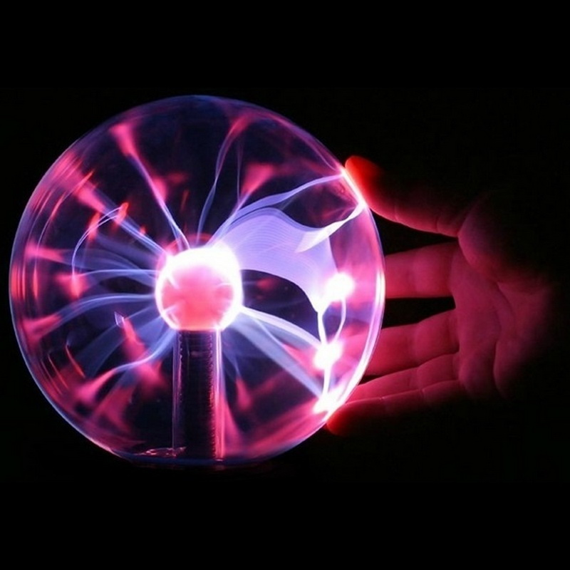 Hot Selling 8*8*13cm USB Magic Black Base Glass Plasma Ball Sphere Lightning Party Lamp Light With USB Cable(China)