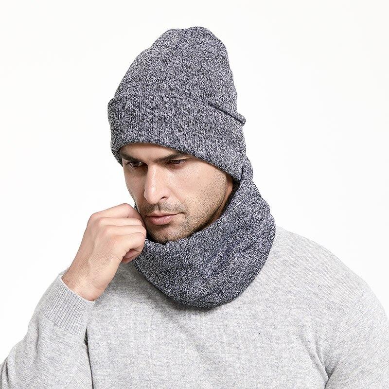Зимний мужской набор шапки и шарфа, сохраняющая тепло, толстая вязаная шапка s, зимние аксессуары, Мужская шапочка, шарф, осенняя утолщенная шапка - Цвет: LightGray