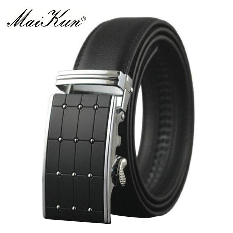 Maikun Belts for Men Automatic Buckle Male Belt Split Cowskin Leather Men Belt