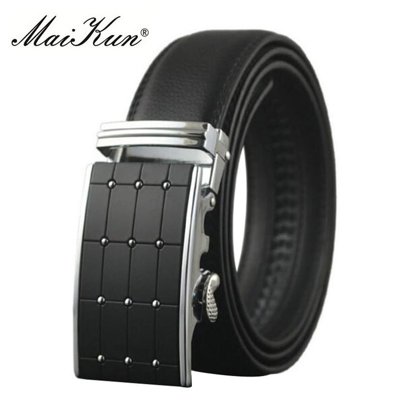Maikun   Belts   for Men Automatic Buckle Male   Belt   Split Cowskin Leather Men   Belt