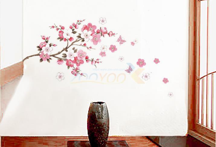 Pequeño sakura flor pegatinas pared del dormitorio sala de pvc decal diy 6008 de