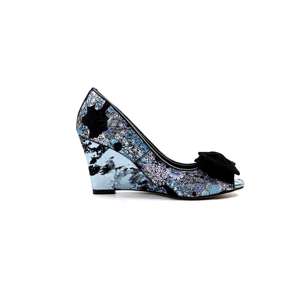 Casuales Tacones Colores Bowtie Nuevas 2018 Mezclados Verano Las Cuñas Peep Manera Negro La azul Toe Bombas Morazora Altos De Mujeres Zapatos Ua81acq