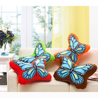 1 Pcs Colorful Butterfly Pillow Seat Sofa Cushion Smooth Comfort Cloth Cotton Soft Bed Cushion Inner