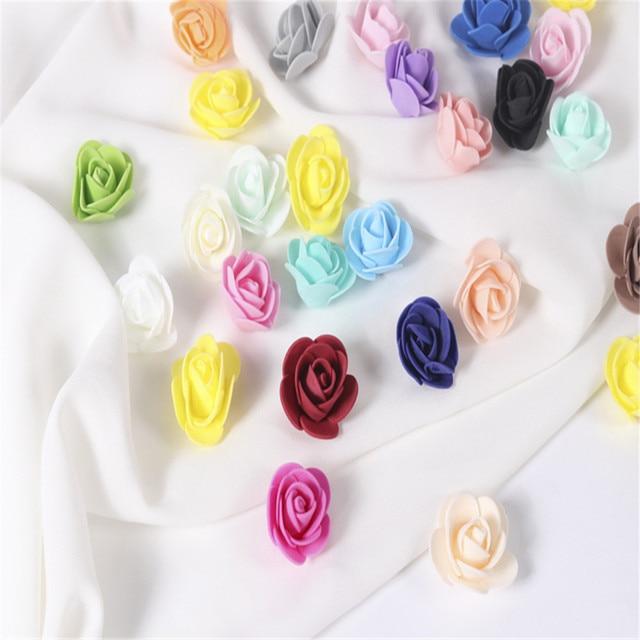 3.5 cm mini rose flower heads teddy bear artificial foam 500 pcs/bag DIY Wreath Candy Box Material Home Wedding Decoration