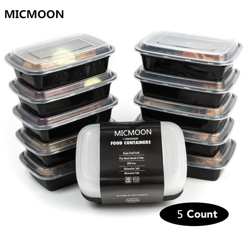 1 Compartment Plastic Food Storage Containers with Lid,Kitchen Dining&Bar-Microwave and Dishwasher Safe,Bento Lunch Box,set of 5