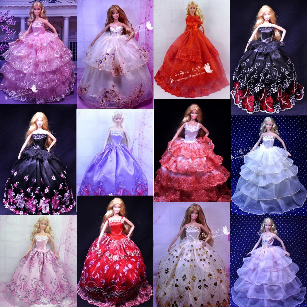 Ucanaan 100 Pcs /Lot Wholesale Doll Equipment Stunning Elegant Wedding ceremony Attire Garments Night Gown for Barbie Free Delivery
