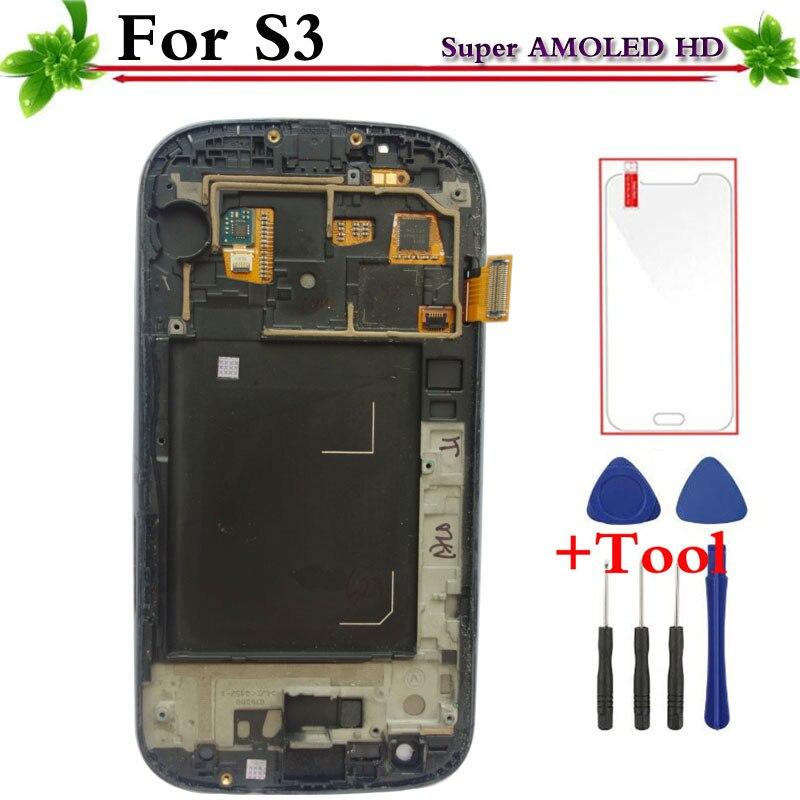 Super AMOLED ЖК-дисплей сенсорный экран планшета с рамкой запасные части для Samsung GALAXY S3 i9300 i9305 белый/синий