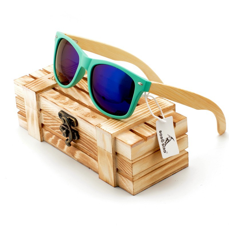BOBO BIRD New Sunglasses Women Polarized Wood Holder Sun Glasses Men with Retail Wooden Case Fashion