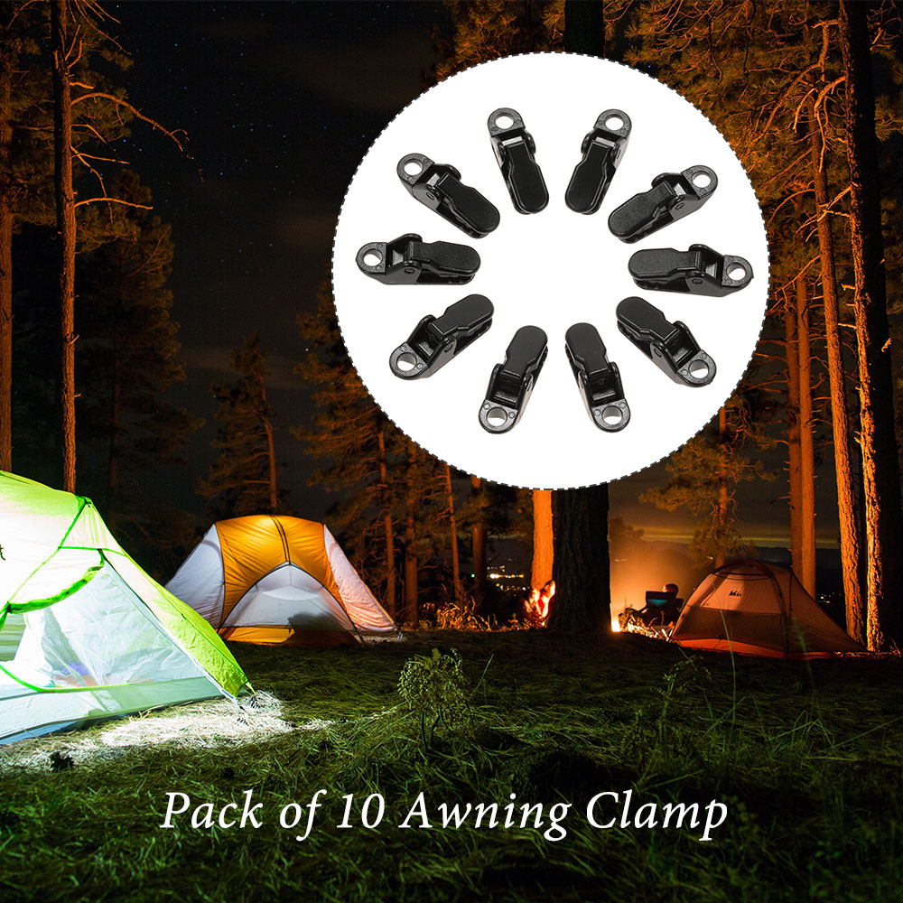 10 pcs//pack Awning Clamp Tarp Clips Snap Hangers Tent Camping Survival Tighten