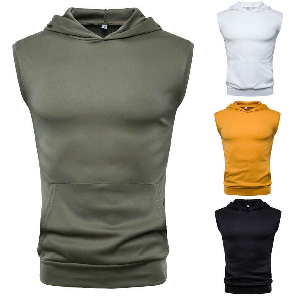Mens Muscle Hoodie Tank Tops Mouwloos Bodybuilding Gym Workout Fitness Shirts Vest Masculina Tops Herenkleding
