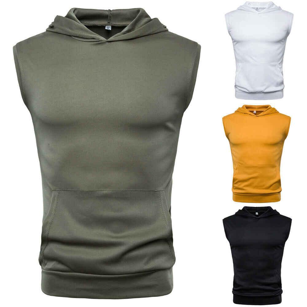 رجل العضلات هوديي تانك القمم أكمام كمال الاجسام رياضة تجريب اللياقة البدنية قمصان الصدرية الرجولة القمم ملابس للرجال