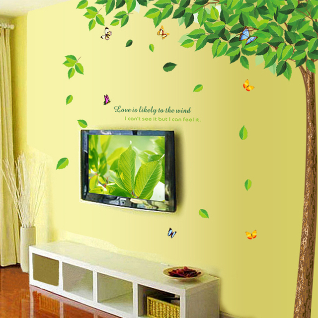 green tree shade TV background pvc wall art stickers living room ...
