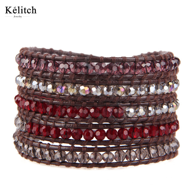 Kelitch China Wholesale Multilayers Clear Crystal Beads Bracelets Handmade DIY Colorful Genuine Leather Wrap Silver Clasp Bijoux