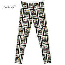 CANDICE ELSA women leggings workout legging fitness female pants elastic playing cards printed sexy trousers plus size wholesale